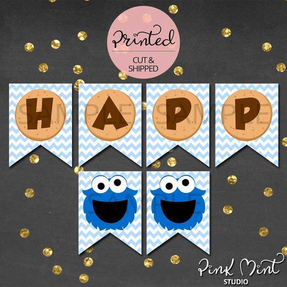 Cookie Monster Birthday Banner Cookie Monster by PinkMintStudio