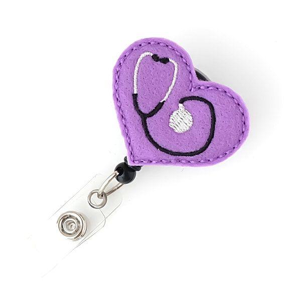 Purple Nursing Stethoscope  Nurse Gifts  Cute Badge Holders Felt Name Badge Reels by BadgeBlooms, $7.00