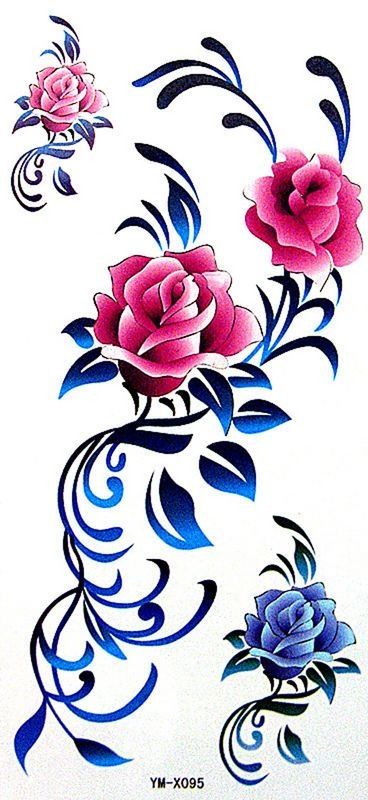 YiMei Fashion sexy waterproof and sweat floral personalized red rose temporary tattoos [YM-X095] - $3.69 - GGSell.com, Sell your fashion