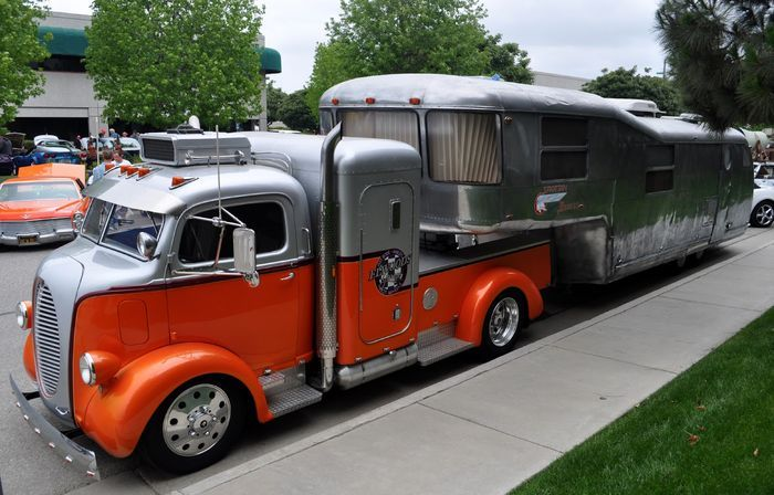 Finally, Jesse at justacarguy came across this 1938 Ford COE hauling a sweet Spartan Custom Mansion.