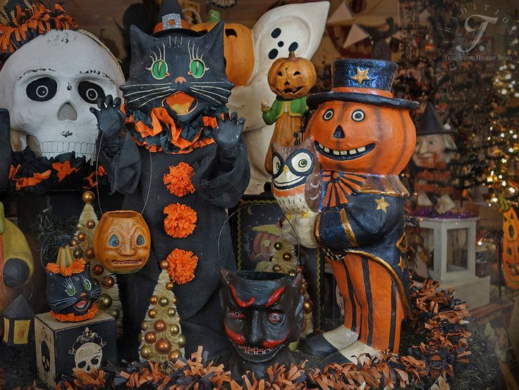 vintage halloween decor traditions year round holiday store lots of larger paper mache - Halloween Decorations Store