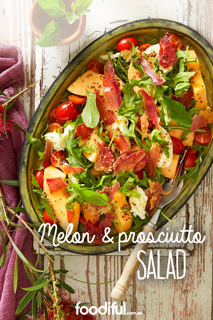 This melon salad with prosciutto and mozzarella cheese is light, summery and fresh, and comes with a walnut oil dressing. It serves 6 and takes 25 minutes.