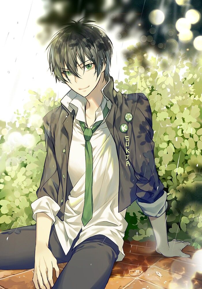 Let S See A Lot Of Green Masculine Wet From Rain School Uniform He S Def Hot Cute Anime Guys Anime Drawings Anime Characters