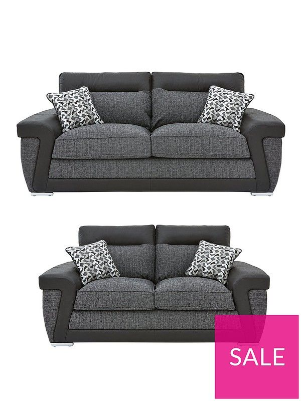 Geo Fabric And Faux Leather 3 Seater 2 Seater Sofa Set Buy And Save Sofa Set Seater Sofa 2 Seater Sofa
