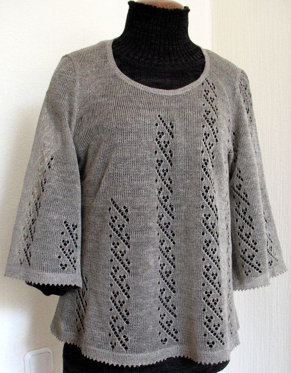 Linen Top Tunic Sweater Clothing Natural Grey by Initasworks, $89.00