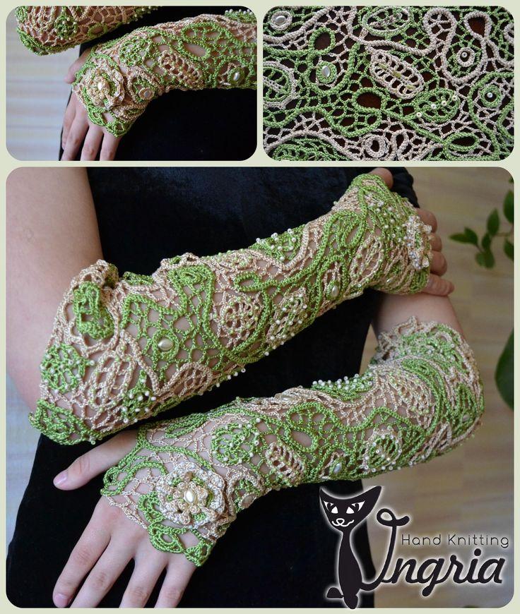 Митенки длинные вязаные Лиана, ирландское кружево, Irish crochet, irish lace by Ingria (Ингрия).