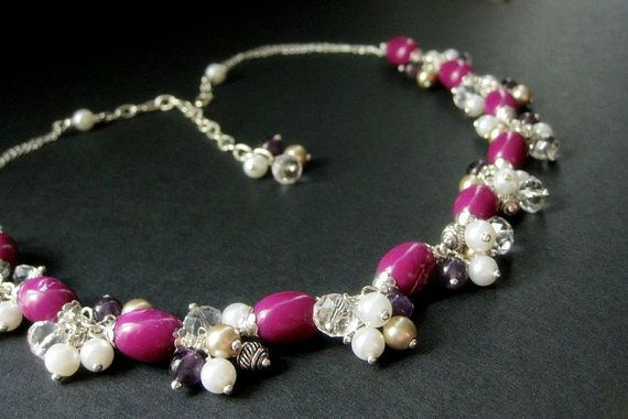 Fuchsia Lilac Beaded Necklace with Charm Clusters of by Gilliauna, $150.00