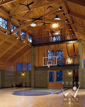 Basketball Court! roger wade studio architectural photography of handcrafted log boat house with old wooden boats looking out to upper st. regis lake, paul sm...