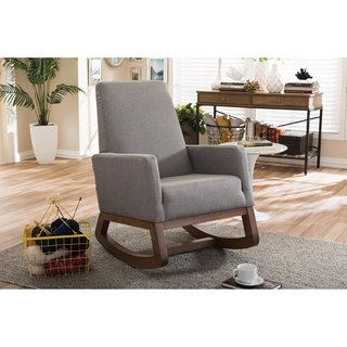 Shop for Baxton Studio Yashiya Mid-century Retro Modern Grey Fabric Upholstered Rocking Chair. Get free shipping at Overstock.com - Your Online Furniture Outlet Store! Get 5% in rewards with Club O! - 18076254