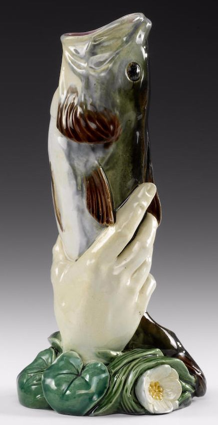 Minton majolica fish in hand vase, dated 1868, 23.7cm high, impressed 'MINTON' and date cipher