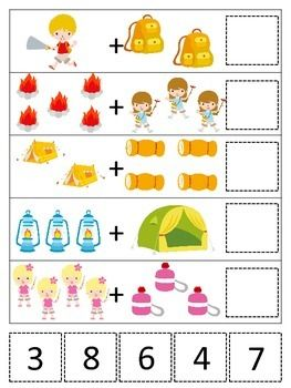 Camping Themed Math Addition Preschool Printable Game Da