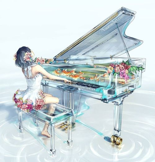 piano, anime, and anime girl εικόνα