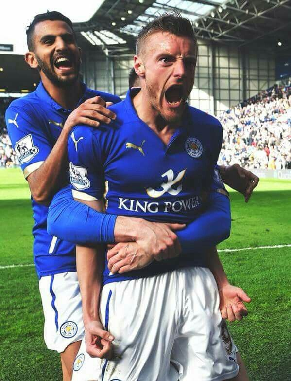 Rihad Mahrez and Jamie Vardy