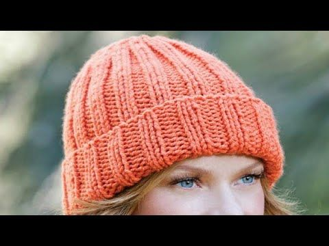 diy  easy fit ribbed hat / beanie knitting tutorial for