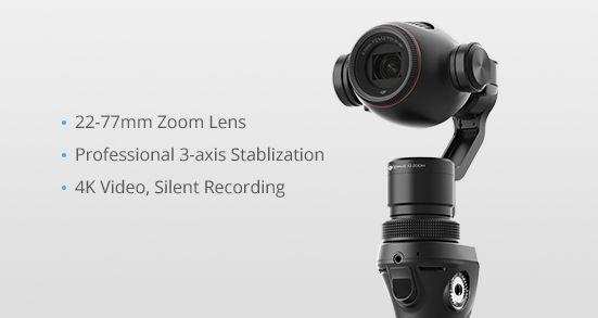 DJI - Osmo+ e Osmo+ Battery Kit - Stabilizzatori a mano gimbal system 3 assi con Camera 4k integrata e zoom. Lente zoom 22-77 mm, 3.5x ottico e 2x zoom digitale lossless. Video 4K, foto a 12 megapixel e registrazione silenziosa.  VIENI A PROVARLI!