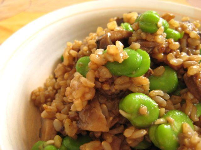 Mushroom and Broad Bean Pilaf