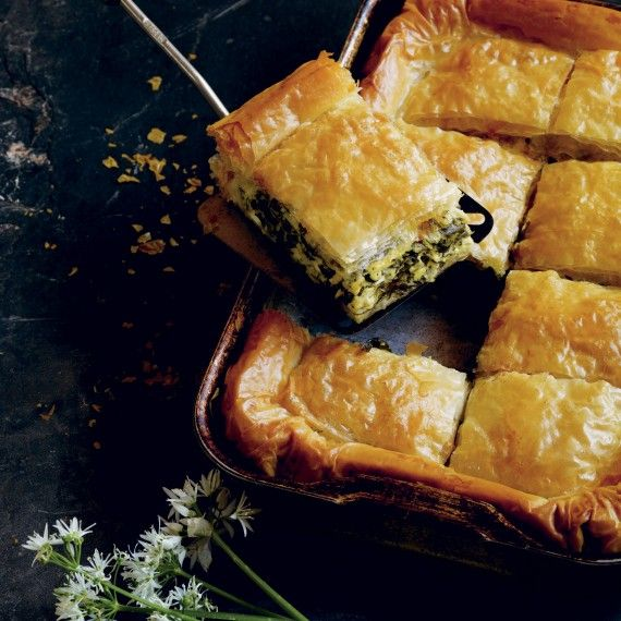 Spinach, wild garlic & filo pie recipe