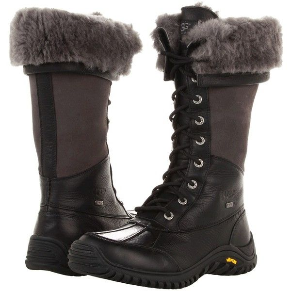 UGG Adirondack Tall (Black) Women's Cold Weather Boots ($295) ❤ liked on Polyvore featuring shoes, boots, black knee high lace up boots, black patent boots, water proof boots, waterproof boots and cold weather waterproof boots