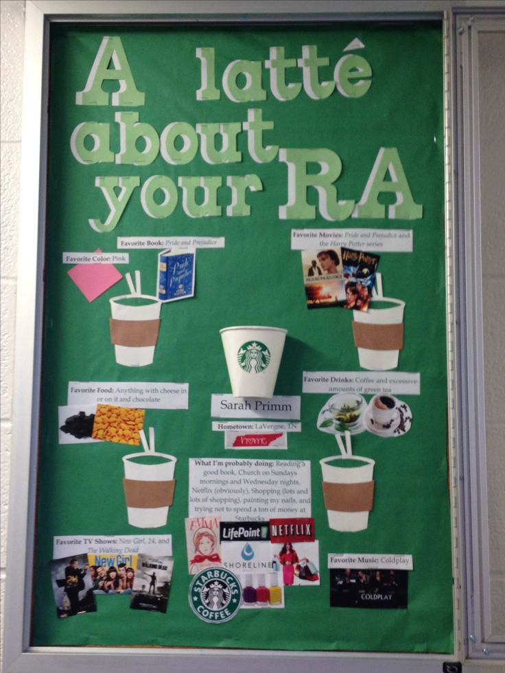 A latté about your RA (About me bulletin board)  STARBUCKS THEME!!! ***