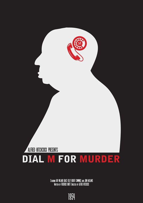 "Dial M for Murder - Part of the Modern Hitchcock series Inspired by my love of Hitchcock films Designs include ""The Birds"", ""Vertigo"", ""North By Northwest"", ""Dial M For Murder"", ""Rear Window"", ""Psycho"""