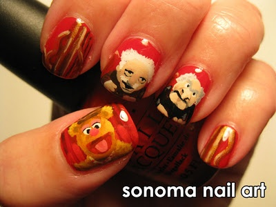 I love this so much!Sesame Street, Fozzie Bears, Nails Art, Awesome Nails, Nails Design, Funky Nails, Front Doors, The Muppets, Muppets Nails
