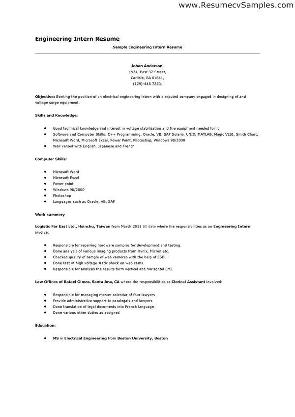 Internship Resume Examples cv for accountant internship resume - accounting intern resume