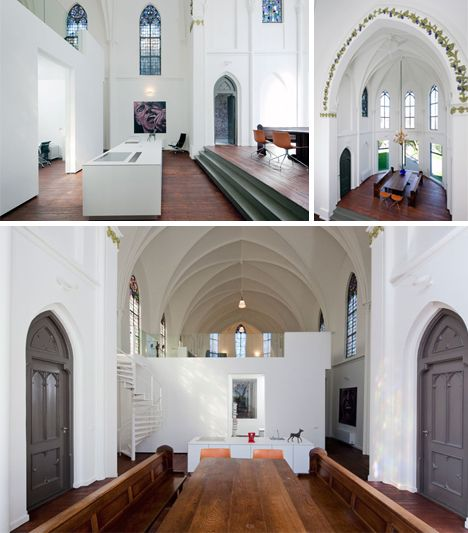 Quaint, cute, and unassuming the outside of this old house of worship shows its age in weathered wear. Seeking to preserve this piece of history, however, its owners chose to transform the interior, creating a contemporary home within classic walls. Like other cool church conversions from Zecc ( ...