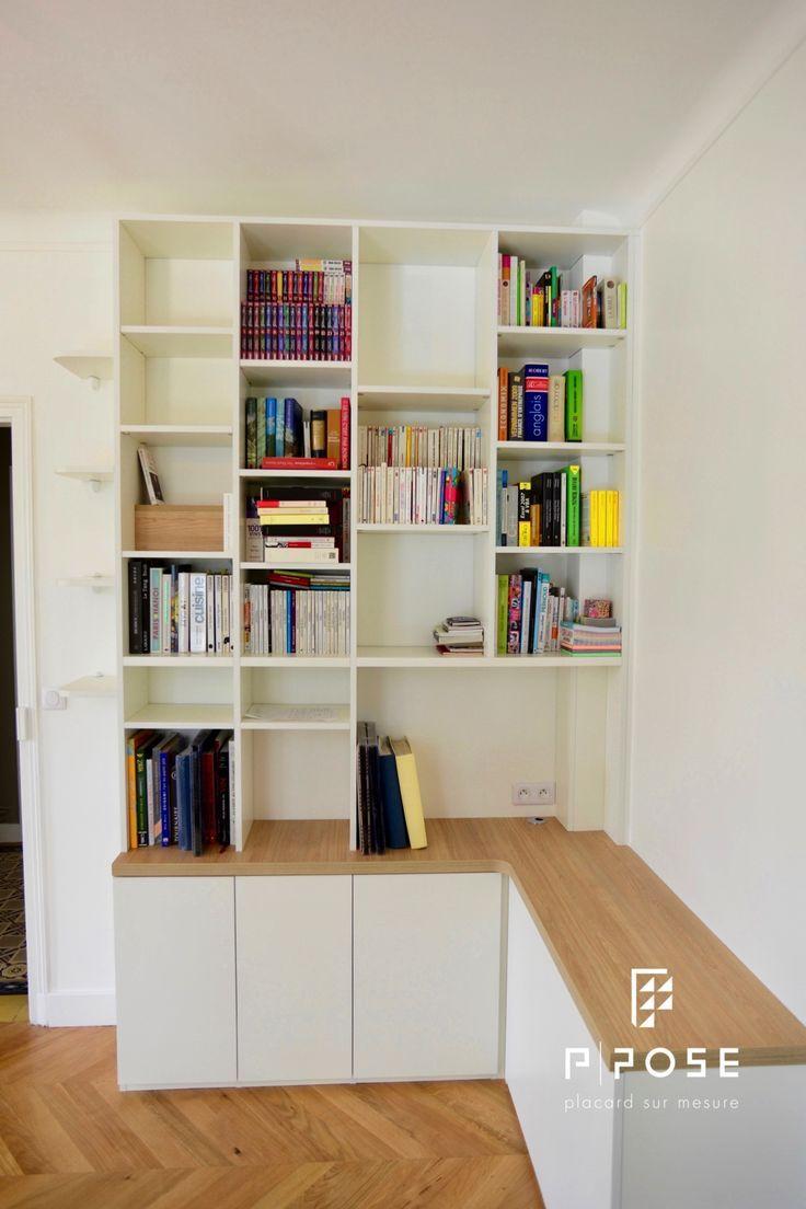Meuble Tv Avec Bibliothèque bibliothèque avec meuble tv en retour en mélaminé blanc
