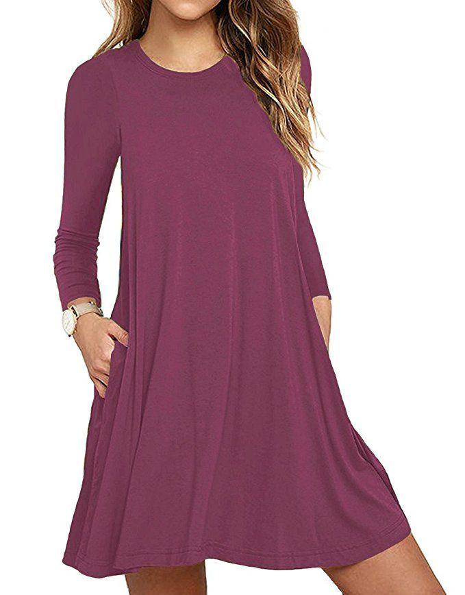 b215c2df220b Unbranded  Women s Long Sleeve Pocket Casual Loose T-Shirt Dress at Amazon Women s  Clothing