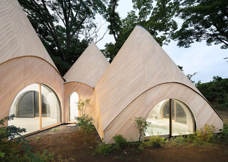 Teepee Shaped Buildings By Issei Suma House Community Kitchen And Pool