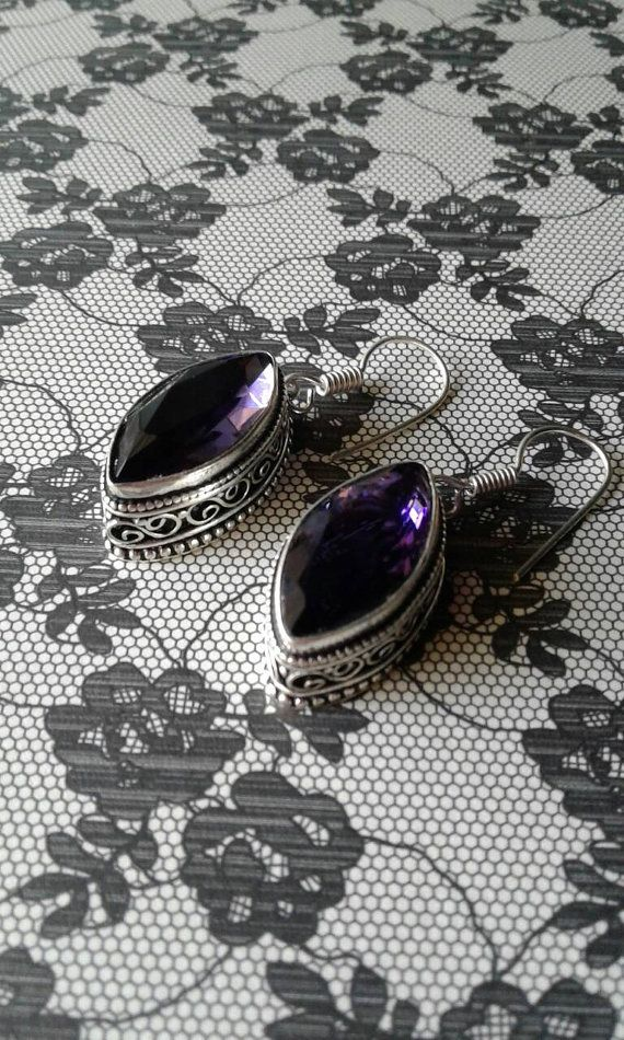 Purple Amethyst  EarringsSilver 925African by happybdaytome