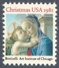 1981_10_28 $.20 The Traditional Christmas Stamp featured the painting Madonna and Child by Botticelli.  The painting is located in the Art Institute of Chicago. Due to a pending rate change of unknown date at the time of printing, this stamp was issued without a denomination. This stamp and the 1981 contemporary Christmas stamp (item CH52) became the first stamps issued with the new 20c first class postage rate.