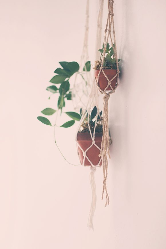 Tiny macrame hanger diy from free people blog. A woven necklace is included also.