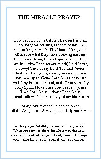 A miracle prayer written by healing priest Fr. Peter Rookey.