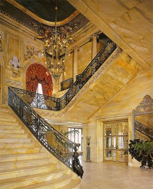 marble staircase. suiting for the Marble House. Try affording a staircase like this these days!