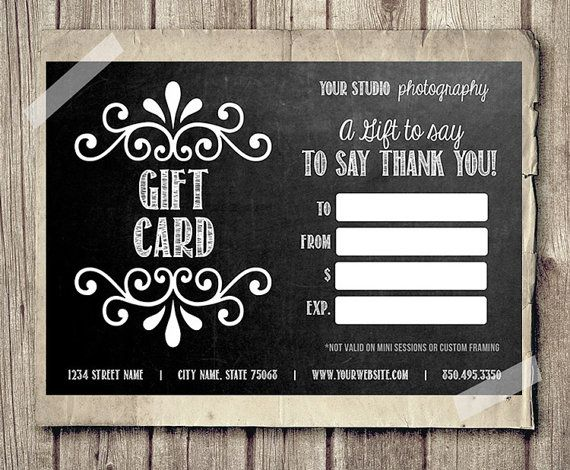 Gift Card Printable - Digital Gift Certificate - Photoshop Template - Chalkboard Chalk Style Gift Card Certificate - INSTANT DOWNLOAD