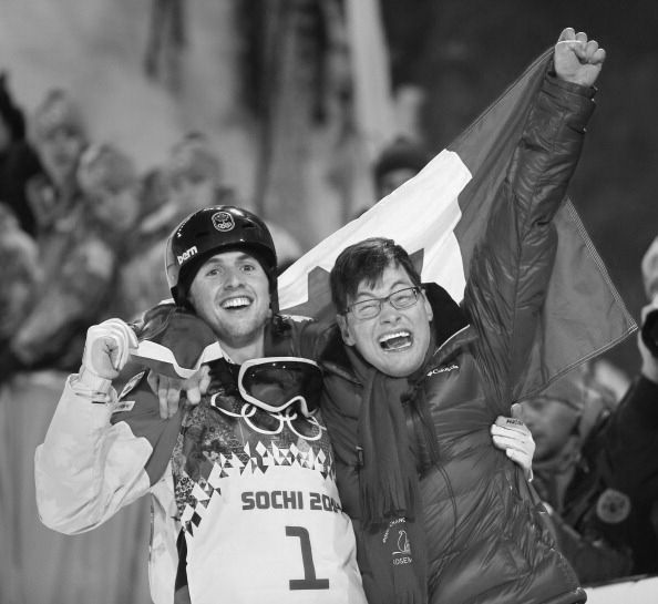 Alex Bilodeau of Canada dedicates winning a gold medal in the Men's Moguls to his brother Frederic who has cerebral palsy.