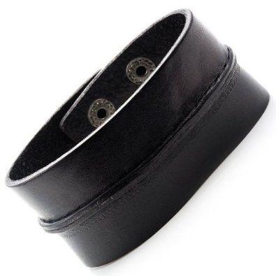 R&B Bijoux - Bracelet de Force Homme - Ajustable Vintage - Fermeture Pressions - Manchette Extra Large Cuir (Noir). 14,90€