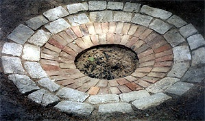 Circular, brick, in-ground fire pit. Mine is getting closer to this...just a little more work.