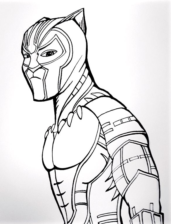 the black panther outline sketch in 2020 black panther