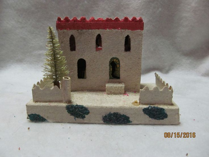 Vintage Cardboard Christmas Palace Made in Japan with Bottle Brush Tree & Fence