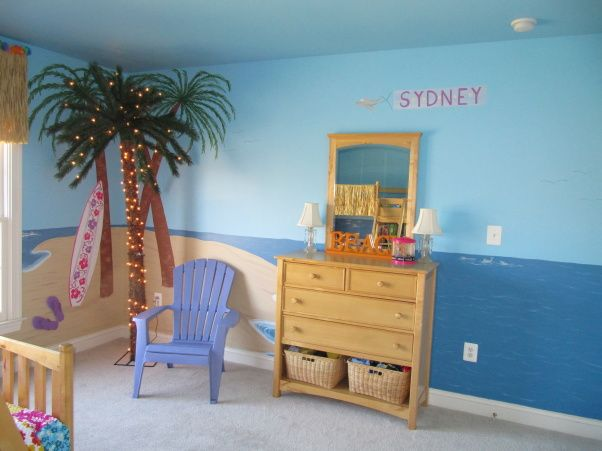 """Sydneys Beach Bedroom, My 9 year daugther old had outgrown her """"princess"""" themed bedroom and was switching rooms since her big sister moved out and she wanted her old room, so we decided to redecorate.  Murals are courtsey of Samantha Gambale., Purple adorandak chair was purchased from True Value (online)., Girls Rooms Design"""