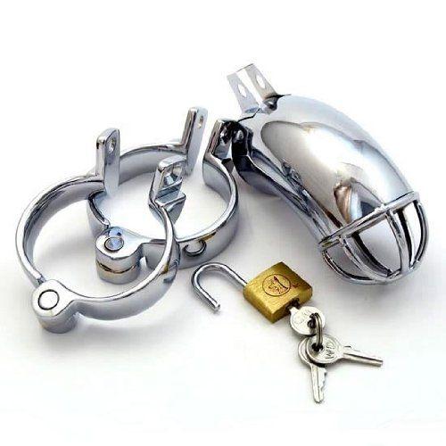 Pipe Cage + Ringsatz, Keuschheitsgürtel für Männer, Metall Peniskäfig Keuschheit für Ihn (Keuschheitskäfig, Keuschheitsschelle)
