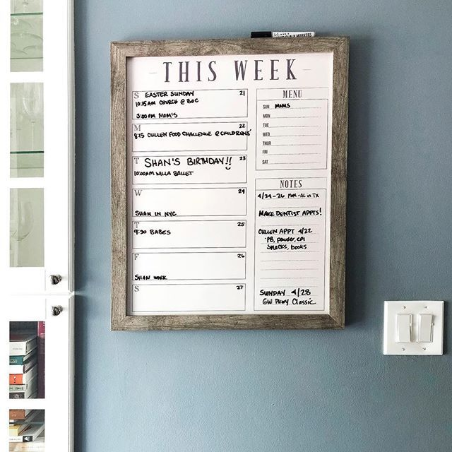 18x24 Weekly Calendar Weekly Chalkboard Dry Erase Planner Etsy In 2020 Framed Calendar Dry Erase Planner Home Command Center