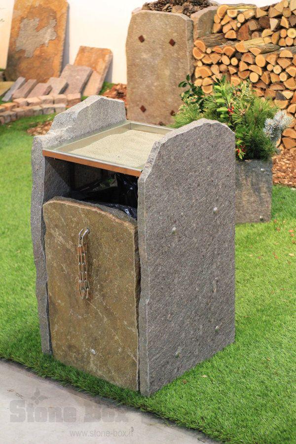 """Modello """"Dossedel"""" della linea """"Terra"""" fioriere e cestini per rifiuti in porfido trentino Stone Box..."""