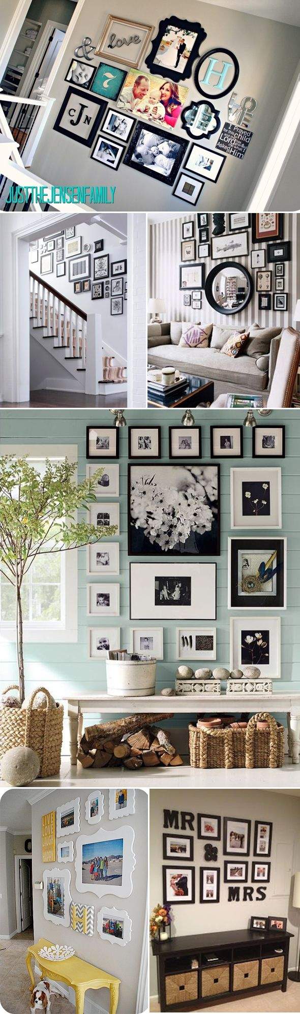 photo walls, love the top pic!