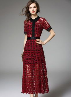 Fashion Hollow Embroidery Slim Dress