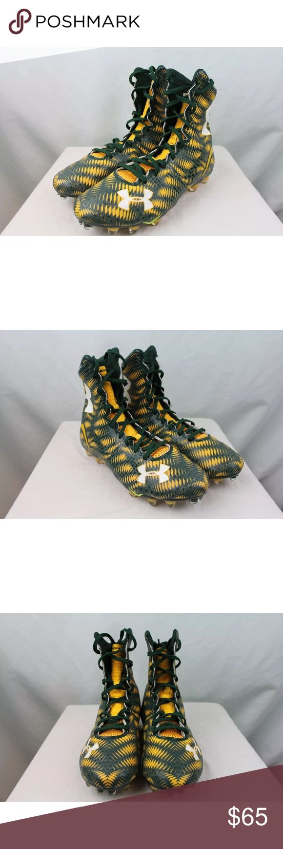 Under Armour High Top Cleats NEW Under Armour Highlight MC Mens High Top Green Yellow Football Cleats Size 8.5  New without box or tags mens Under Armour high top football cleats. Green and yellow, size mens US 8.5 Under Armour Shoes Athletic Shoes