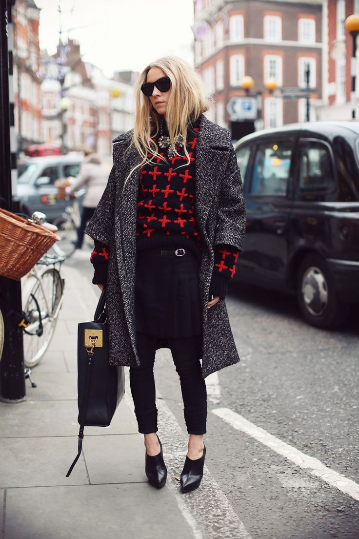 what-do-i-wear:        TOPSHOP UNIQUE knitH TREND coatTOPSHOP skirtDR. DENIM jeansJIMMY CHOO shoesSOPHIE HULME bag      MARC JACOBS iphone case      REGAL ROSE rings        ANTON HEUNIS necklace  (image: 5inchandup)