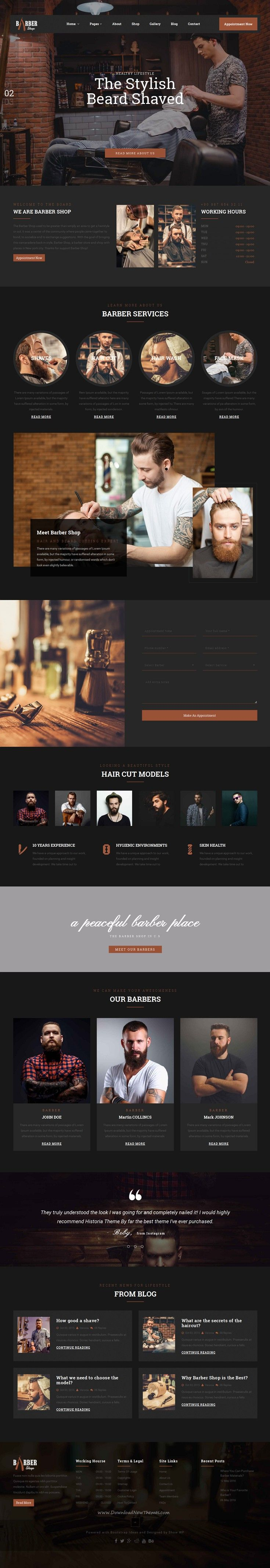 The Barber Shop is a Bootstrap HTML #template design for professional barber sites, hair #salon or #barber shop websites. Download Now!